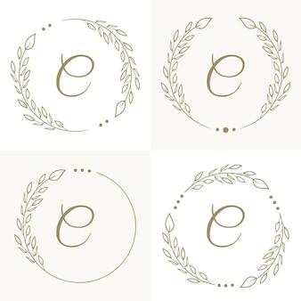 Luxe letter c logo ontwerp met bloemen frame achtergrond sjabloon