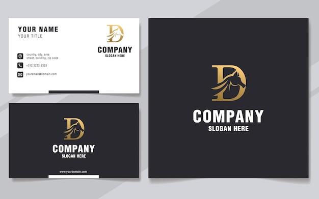 Luxe letter d met abstract paard logo sjabloon