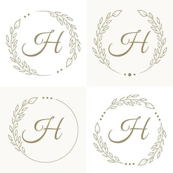 Luxe letter h logo ontwerp met bloemen frame achtergrond sjabloon