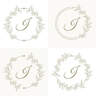 Luxe letter i logo ontwerp met bloemen frame achtergrond sjabloon
