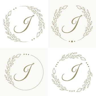 Luxe letter j logo ontwerp met bloemen frame achtergrond sjabloon