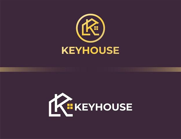 Luxe letter k-logo met huis of bouwconcept