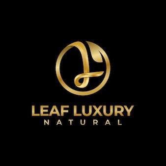 Luxe letter l met blad natuurlijk logo-ontwerp