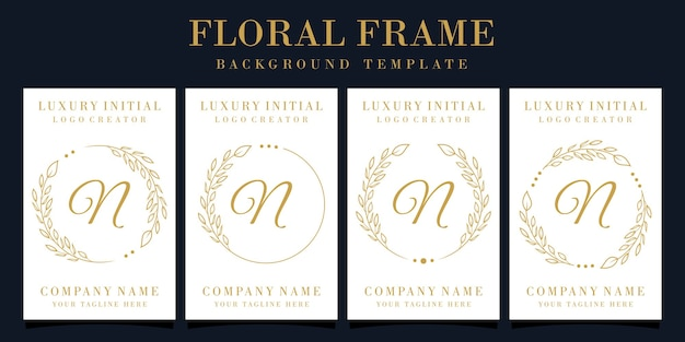 Luxe letter n logo-ontwerp met bloemenframe
