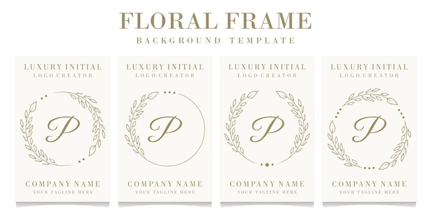 Luxe letter p logo ontwerp met bloemen frame achtergrond sjabloon