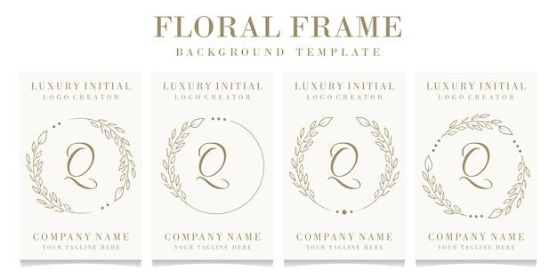 Luxe letter q logo ontwerp met bloemen frame achtergrond sjabloon