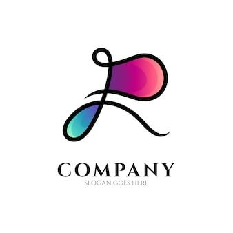 Luxe letter r lijntekeningen logo