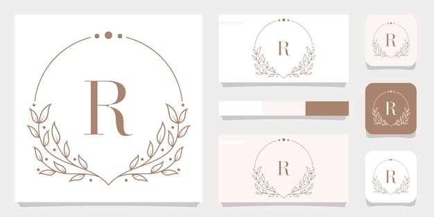 Luxe letter r logo ontwerp met bloemen frame sjabloon, visitekaartje ontwerp