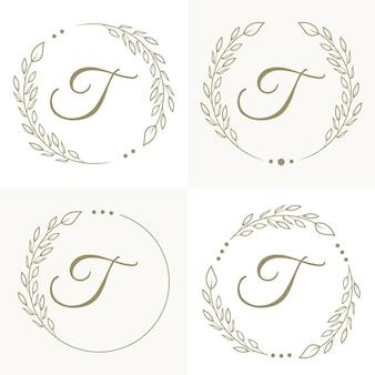 Luxe letter t logo ontwerp met bloemen frame achtergrond sjabloon