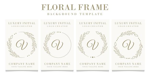 Luxe letter v logo ontwerp met bloemen frame achtergrond sjabloon