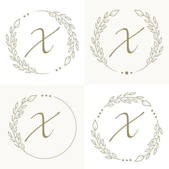 Luxe letter x logo ontwerp met bloemen frame achtergrond sjabloon