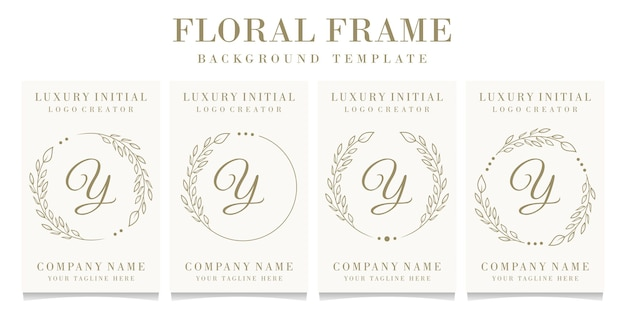 Luxe letter y logo ontwerp met bloemen frame achtergrond sjabloon