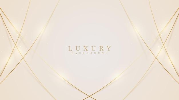 Luxe lichtgele pastel abstracte achtergrond combineren met gouden lijnen element, illustratie uit vector over moderne luxe sjabloonontwerp.