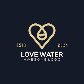 Luxe liefde water logo afbeelding kleur voor het bedrijf