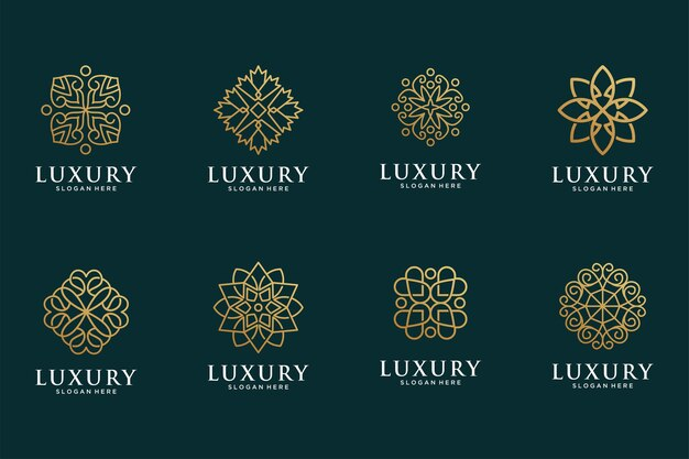 Luxe lijnkunst bloem gouden logo-ontwerpcollectie