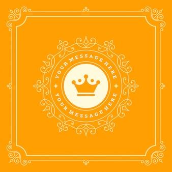 Luxe-logo bloeit kalligrafische elegante ornamentlijnen
