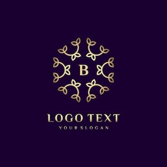 Luxe logo concept ontwerpletter (b) voor uw merk met florale decoratie