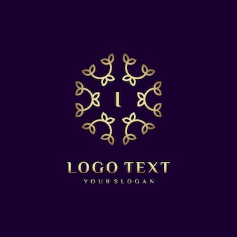 Luxe logo conceptontwerp letter (i) voor uw merk met florale decoratie