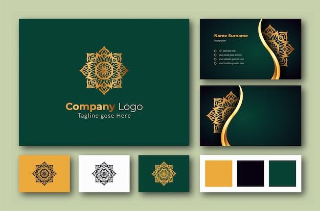 Luxe logo en visitekaartje ontwerpsjabloon met luxe decoratieve mandala arabesque