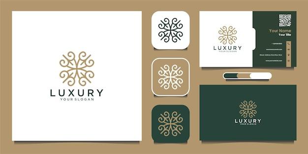 Luxe logo en visitekaartje ontwerpsjabloon met luxe decoratieve mandala premium vector