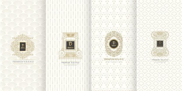 Luxe logo-ontwerp en luxe achtergrond voor verpakkingen