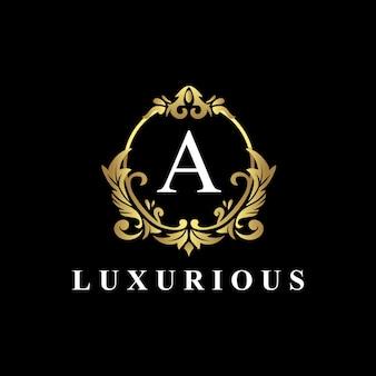 Luxe logo-ontwerp met monogram letter a, gouden kleur, luxe bloeit
