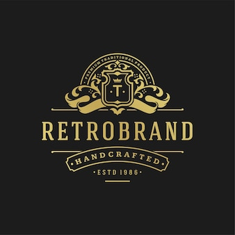 Luxe logo ontwerpsjabloon. victoriaanse vignetten ornament vormen ontwerp.