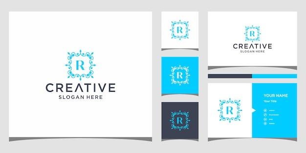 Luxe logo r met sjabloon voor visitekaartjes