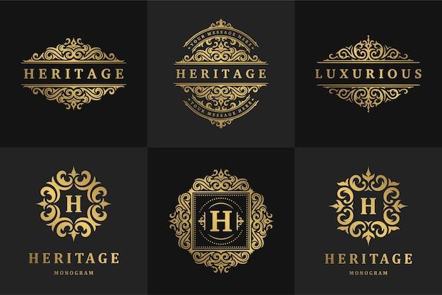 Luxe logo's en monogrammen crest ontwerpsjablonen instellen vectorillustratie. kalligrafische sierlijke vignetten voor koninklijk modemerk, hotelbord, boetiek of restaurantlogo.