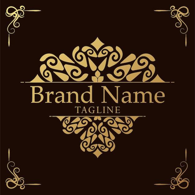 Luxe logo-sjabloon bloeit kalligrafie elegante ornamentlijnen
