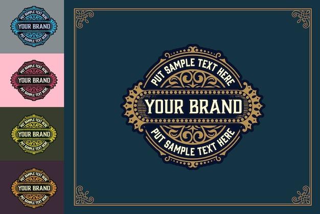 Luxe logo-sjabloon bloeit met florale ornamenten. vector illustratie