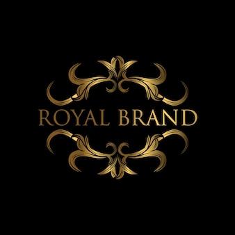 Luxe logo sjabloon. logo met ontwerp met gouden luxe ornament.
