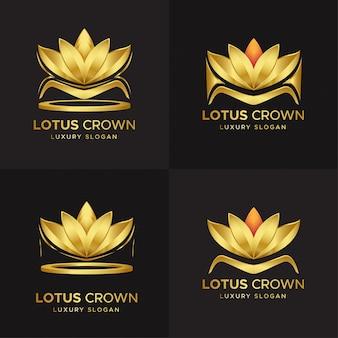 Luxe lotus kroon bloem logo