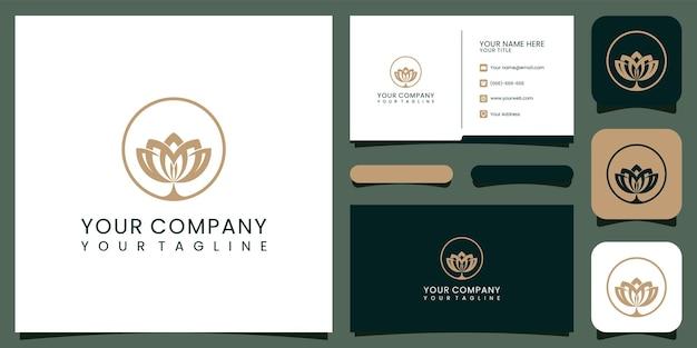 Luxe lotus logo en visitekaartje. goed gebruik voor mode-, spa- en schoonheidssalon-logo premium vector