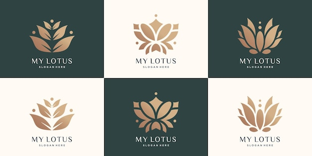 Luxe lotus-logo set creatief abstract logo lotusbloem natuur premium vector