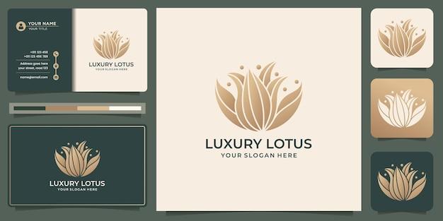 Luxe lotus roos logo ontwerp abstract bloem roos lotus concept met sjabloon voor visitekaartjes premium vector