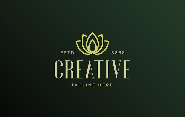 Luxe lotusbloem platte lijn logo ontwerpsjabloon