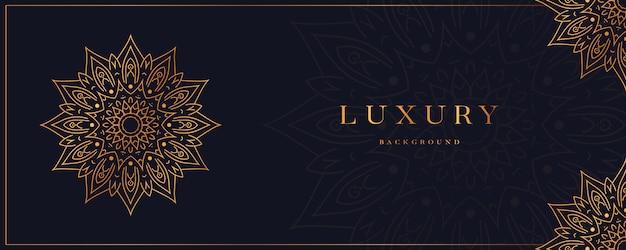 Luxe mandala achtergrond banner met gouden arabesque ontwerp arabische islamitische oost-stijl