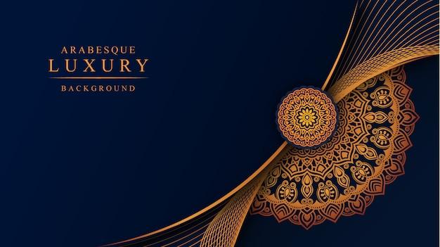 Luxe mandala achtergrond met gouden arabesque decoratie