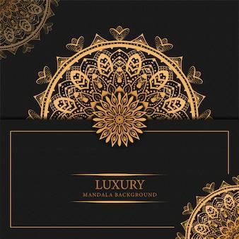 Luxe mandala achtergrond met gouden arabesque patroon arabisch islamitisch ontwerp