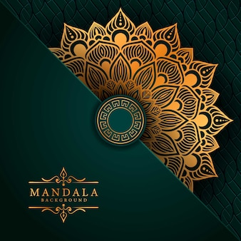 Luxe mandala achtergrond met gouden arabesque patroon