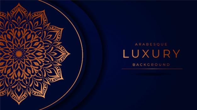 Luxe mandala achtergrond met gouden arabesque patroonstijl
