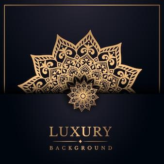 Luxe mandala achtergrond met gouden arabesque stijl
