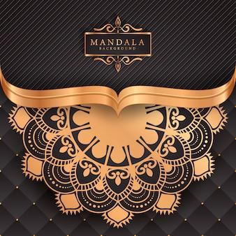 Luxe mandala achtergrond met gouden arabesque