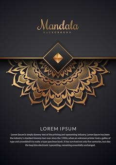 Luxe mandala achtergrond met gouden bloemmotief