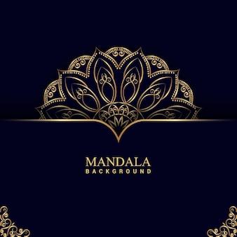 Luxe mandala-achtergrond met gouden kleur premium vector