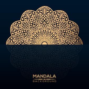 Luxe mandala achtergrond met gouden stijl
