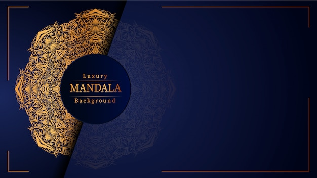 Luxe mandala blauwe achtergrond