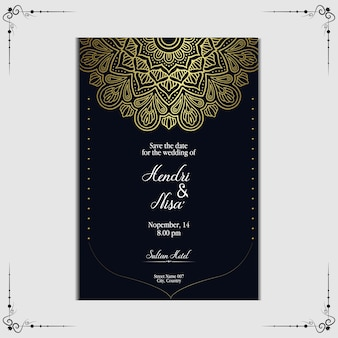 Luxe mandala bruiloft uitnodiging sjabloon.