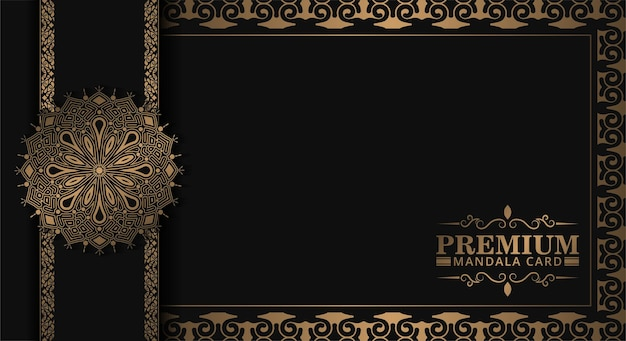 Luxe mandala decoratieve kaart in goudkleur
